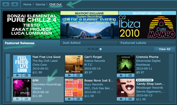 Xplore : 6PM (the album) - featured release on Beatport chillout section